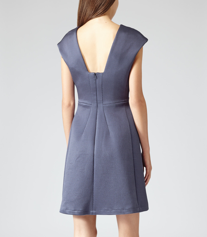 Reiss Anouk TEXTURED FIT AND FLARE DRESS