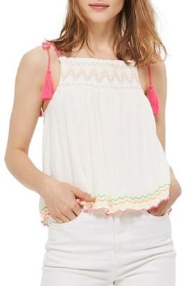 Women's Topshop Fluorescent Detail Smock Camisole $45 thestylecure.com