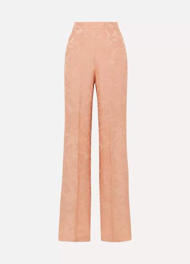 Silk-jacquard Wide-leg Pants - Peach