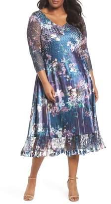 Komarov Kamarov Floral Charmeuse & Chiffon Dress