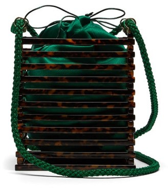 Montunas - Vanda Tortoiseshell Acetate Box Bag - Womens - Green Multi