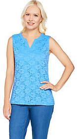 Denim & Co. Sleeveless Split V-Neck Knit LaceTank Top