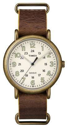 Timex Weekender Slip Thru Leather Strap Watch - Brown TW2P85700JT $62 thestylecure.com