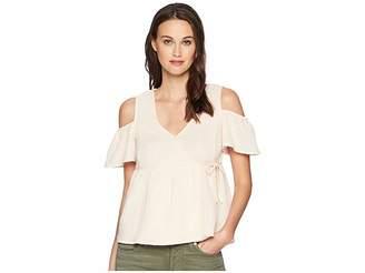 Lucky Brand Cold Shoulder Gauze Top Women's Short Sleeve Pullover