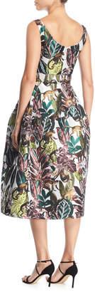 Oscar de la Renta Scoop-Neck Sleeveless Jungle & Monkey-Print Tea-Length Dress