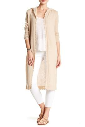 Minnie Rose Frayed Edge Hooded Cashmere Duster