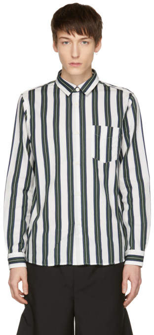 Green and Off-white Striped Alexis Shirt