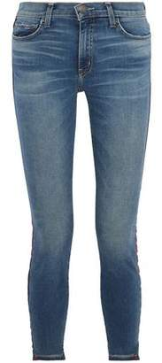 Current/Elliott The High Waist Stiletto Grosgrain-Trimmed High-Rise Skinny Jeans