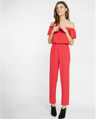 Express off the shoulder tie shoulder jumpsuit $88 thestylecure.com