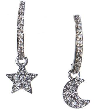 Kenneth Jay Lane CZ By CZ Mismatched Moon & Star Earrings