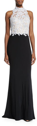La Femme Beaded Sleeveless Mock-Neck Combo Gown, Black/White $479 thestylecure.com