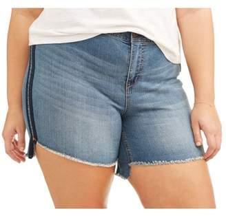 A3 Denim Women's Plus High Low Short with Double Shadow Stripe