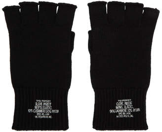 N.Hoolywood Black Cashmere Cut Finger Gloves