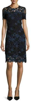 Elie Tahari Ophelia Short-Sleeve Lace Sheath Dress $468 thestylecure.com