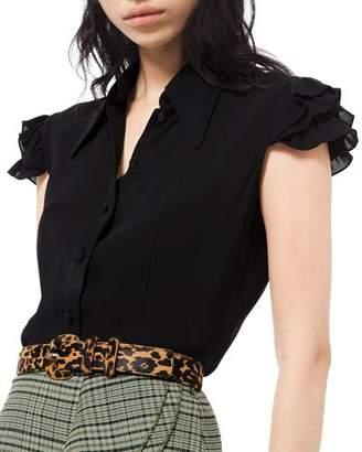 Michael Kors Silk Georgette Mini Ruffle Sleeve Dress