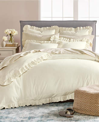 Martha Stewart Collection Luxury Ruffle Cotton Reversible King Duvet Cover, Created for Macy's