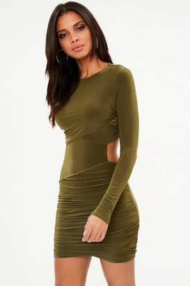 Missguided Khaki Slinky Cut Out Mini Dress