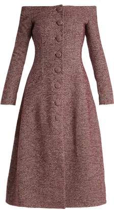 Brock Collection Camilla off-the-shoulder wool-blend dress