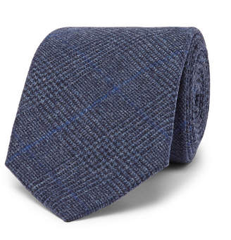 Drakes Kingsman + Drake's 8cm Prince Of Wales Checked Wool Tie