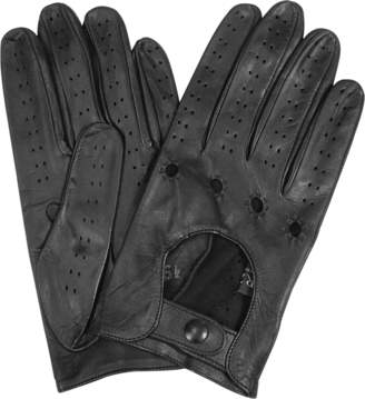 Forzieri Men's Black Italian Leather Driving Gloves