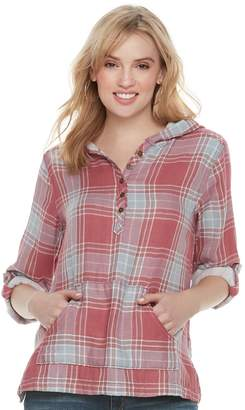 Sonoma Goods For Life Women's SONOMA Goods for Life Plaid Hoodie Tee