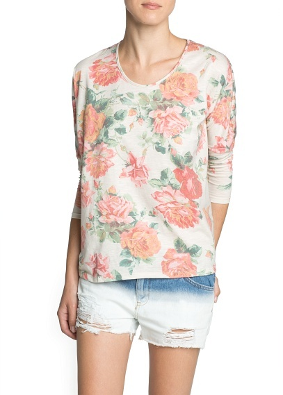 MANGO Outlet Floral Print Loose-Fit T-Shirt