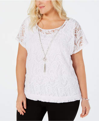 Alfred Dunner Plus Size Palm Coast Lace Necklace Top