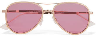 Le Specs Empire Aviator-style Rose Gold-tone Sunglasses - Pink