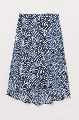 H&M Patterned Wrap-front Skirt - Blue