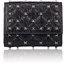Valentino Women's Rockstud Spike Leather Folding Card Case - Black