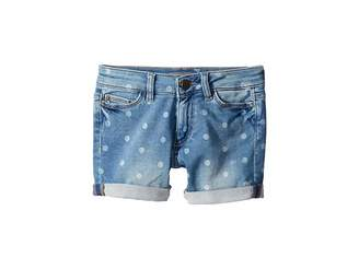 DL1961 Kids Piper Mid Wash Polk Dot Knit Denim Cuffed Shorts in Bluebird (Big Kids)