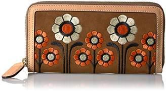 Orla Kiely Suede Embroidery Big Zip Wallet. Wallet