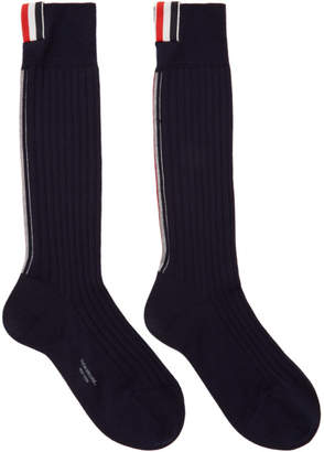 Thom Browne Navy Merino Vertical Stripe Ribbed Socks