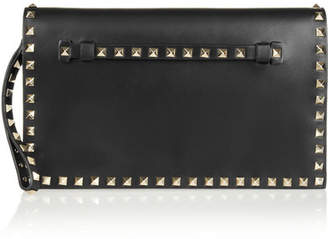 Valentino Garavani The Rockstud Leather Clutch - Black