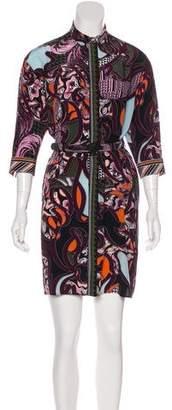 Versace Belted Button-Up Dress
