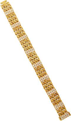 Van Cleef & Arpels Vintage 18K Gold Curb Link With Diamond Bracelet