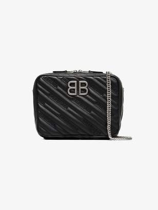 Balenciaga black BB Reporter XS leather camera bag