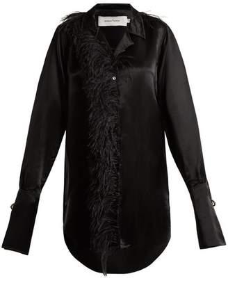 Marques'almeida - Oversized Feather Embellished Satin Shirt - Womens - Black