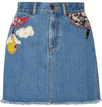 Marc Jacobs - Embellished Frayed Denim Mini Skirt - Mid denim $495 thestylecure.com
