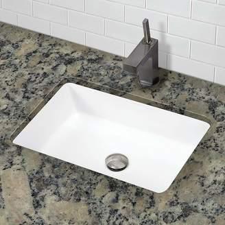 DECOLAV Lilli Classically Redefined Ceramic Rectangular Undermount Bathroom Sink with Overflow