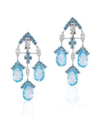 Andreoli 18k White Gold, Diamond & Blue Topaz Drop Earrings