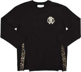 Roberto Cavalli Cotton Sweatshirt W/ Lurex Logo Bands