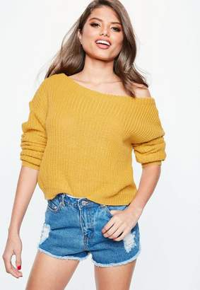 Missguided Yellow Off Shoulder Cropped Sweater