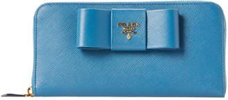 Prada Blue Bow Saffiano Leather Zip Wallet