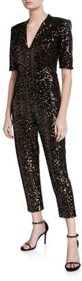 Amanda Uprichard Sequined Short-Sleeve Jumpsuit