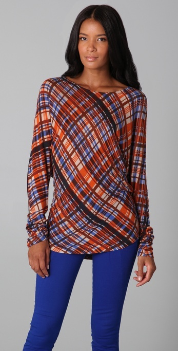 Suno Plaid Dolman Sleeve Top