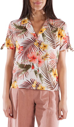 KUT from the Kloth Gladdys Tropical Print Tie Sleeve Blouse