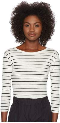 Vince Chalk Stripe 3/4 Sleeve Crew Top Women's Long Sleeve Pullover