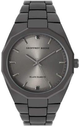 Geoffrey Beene Faceted Bezel Genuine Black Diamond Dial Bracelet Watch