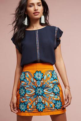 Harare Monique Embroidered Mini Skirt $258 thestylecure.com